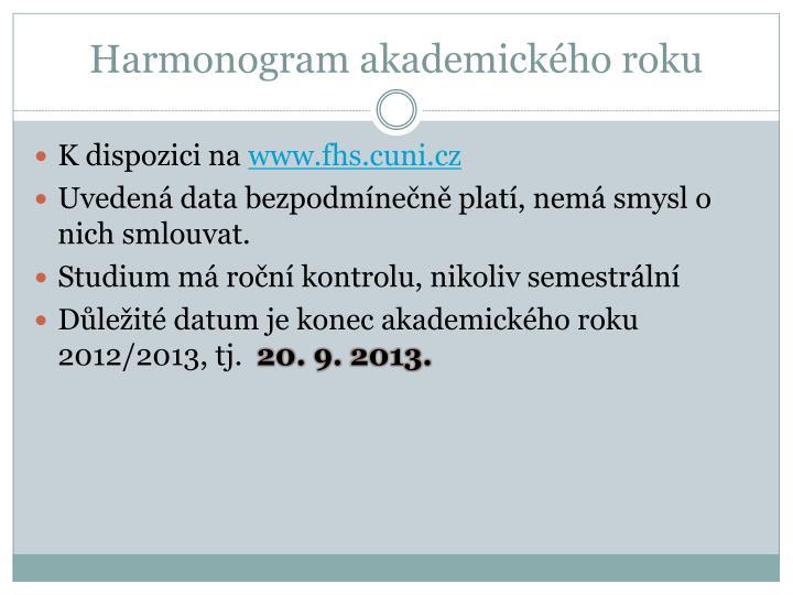 Harmonogram akademického roku
