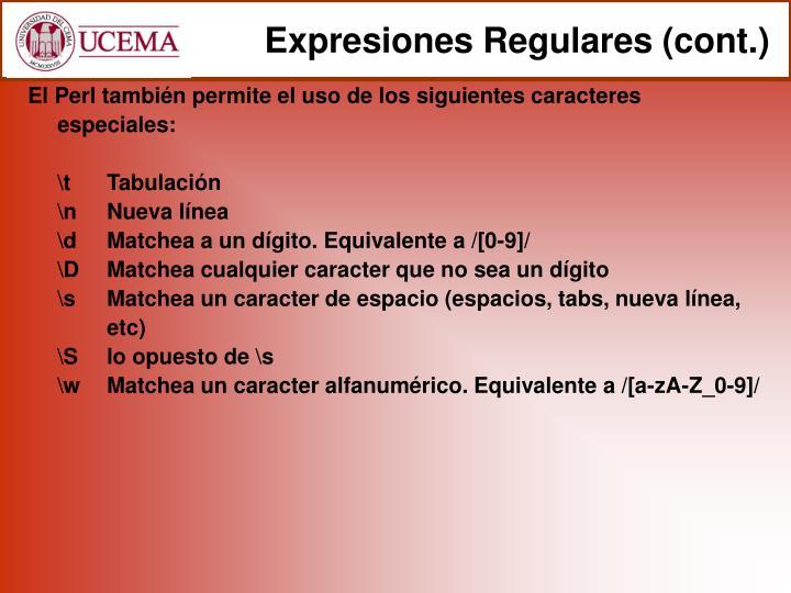 Expresiones Regulares (cont.)