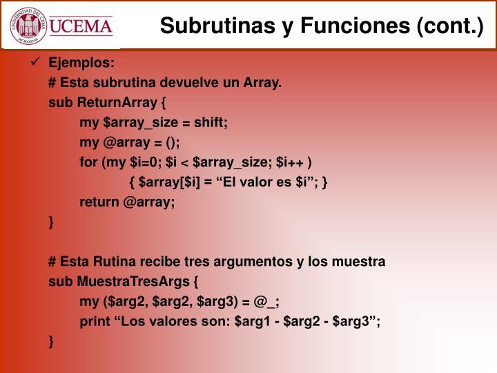 Subrutinas y Funciones (cont.)