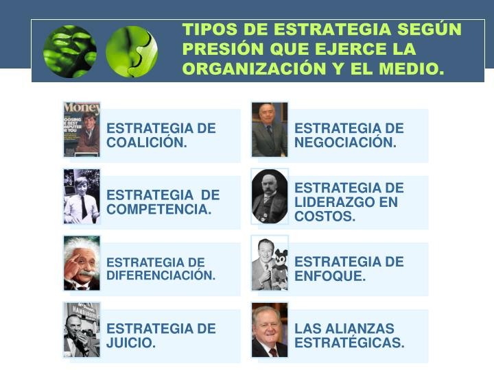TIPOS DE ESTRATEGIA SEGÚN PRESIÓN QUE EJERCE LA ORGANIZACIÓN Y EL MEDIO.