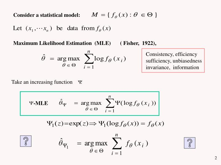 Consider a statistical model: