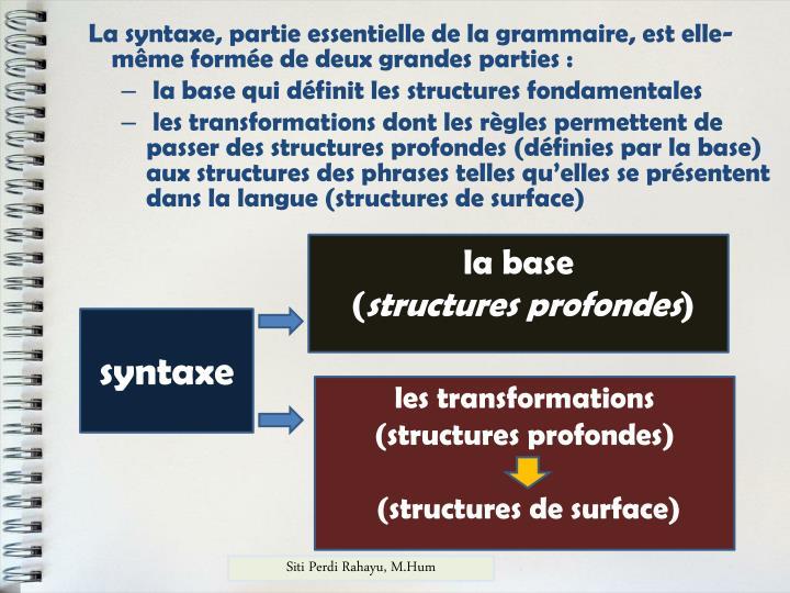 La syntaxe, partie essentielle de la grammaire, est elle-même formée de deux grandes parties :