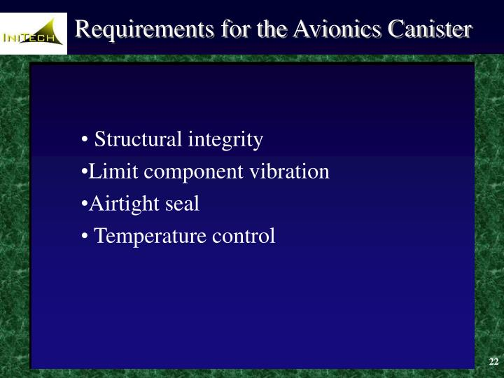 Requirements for the Avionics Canister
