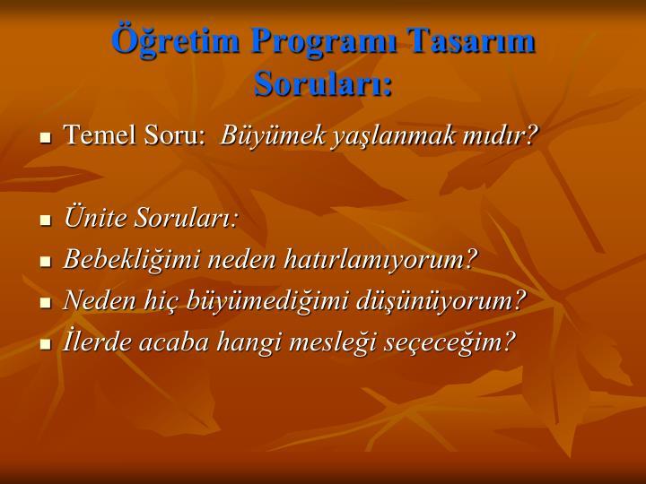 Öğretim Programı Tasarım Soruları: