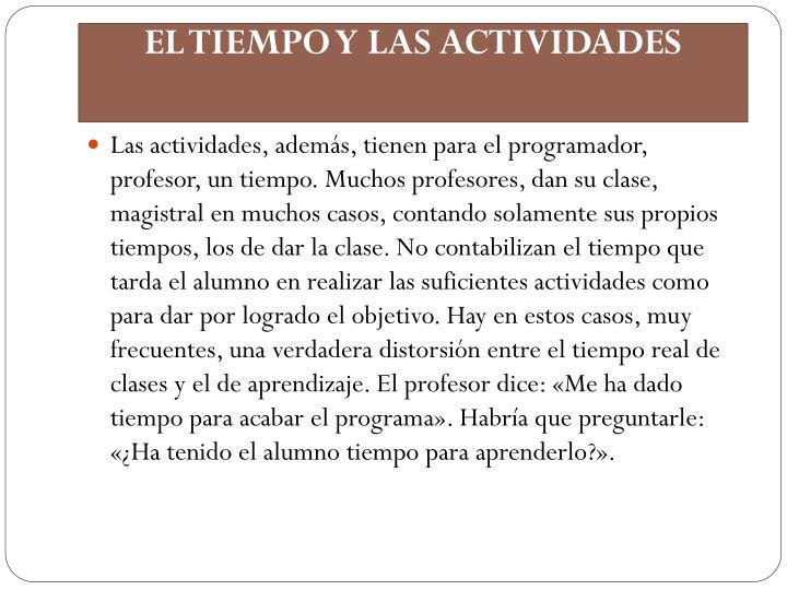 EL TIEMPO Y LAS ACTIVIDADES