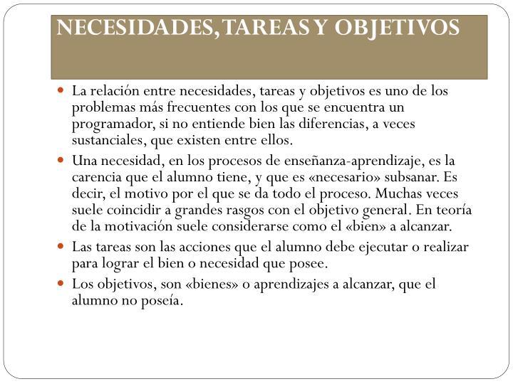 NECESIDADES, TAREAS Y OBJETIVOS
