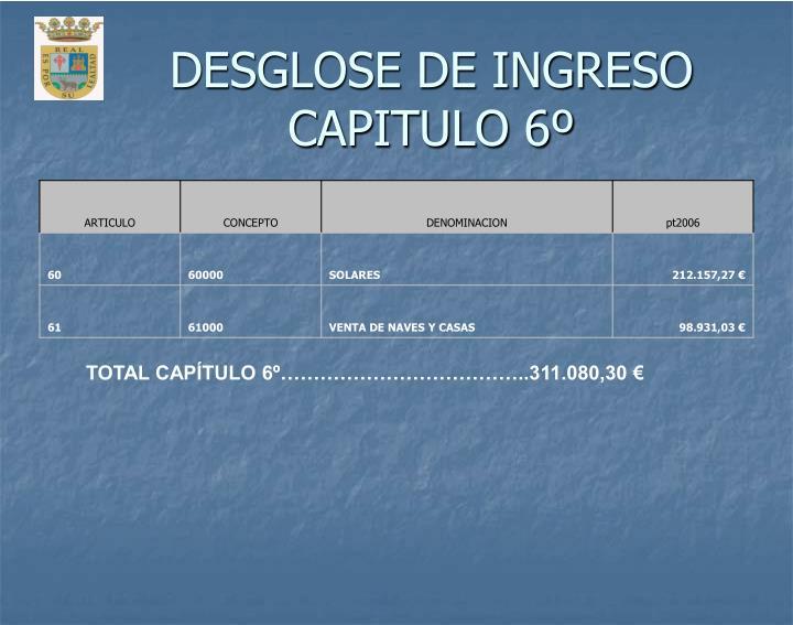 DESGLOSE DE INGRESO CAPITULO 6º