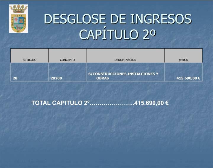 DESGLOSE DE INGRESOS CAPÍTULO 2º