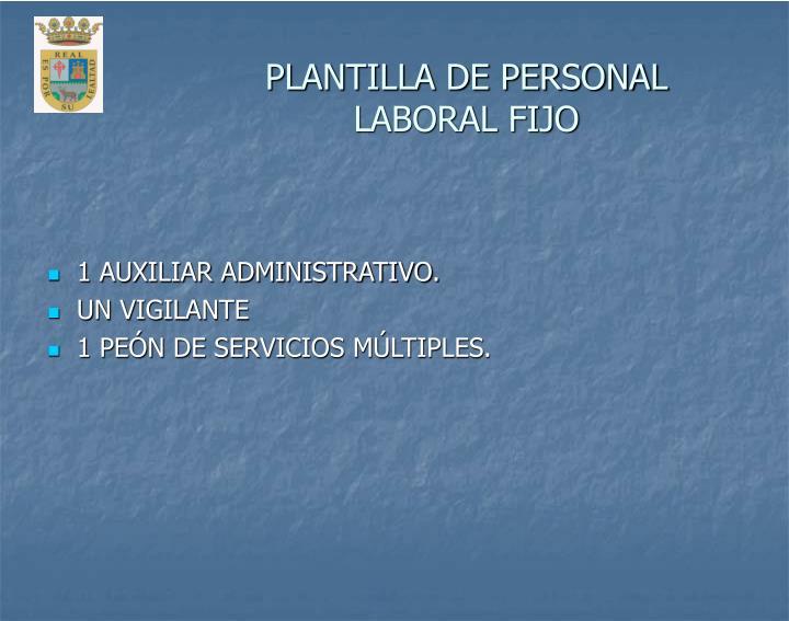 PLANTILLA DE PERSONAL LABORAL FIJO