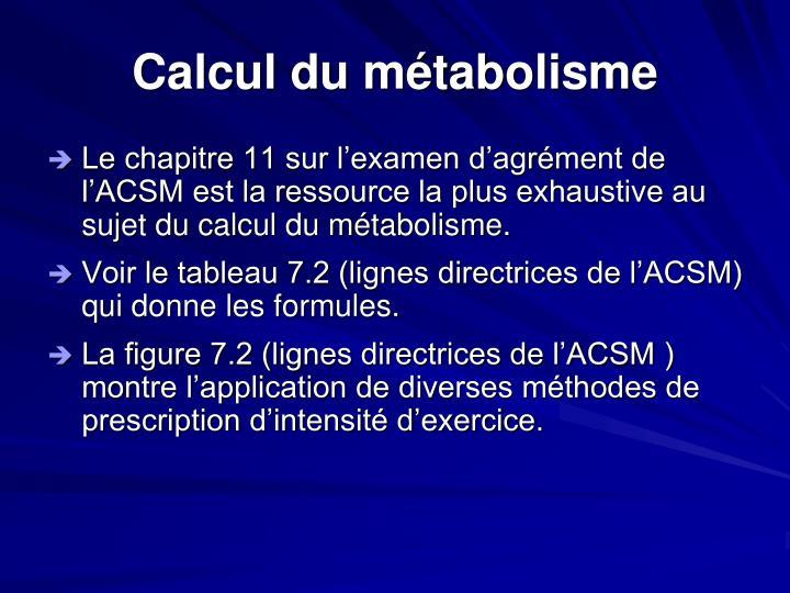 Calcul du métabolisme