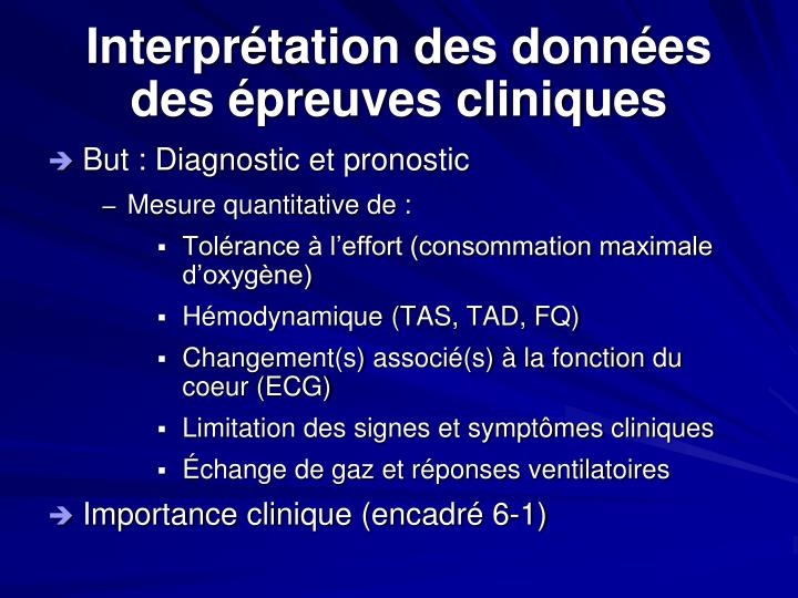 Interprétation des données des épreuves cliniques