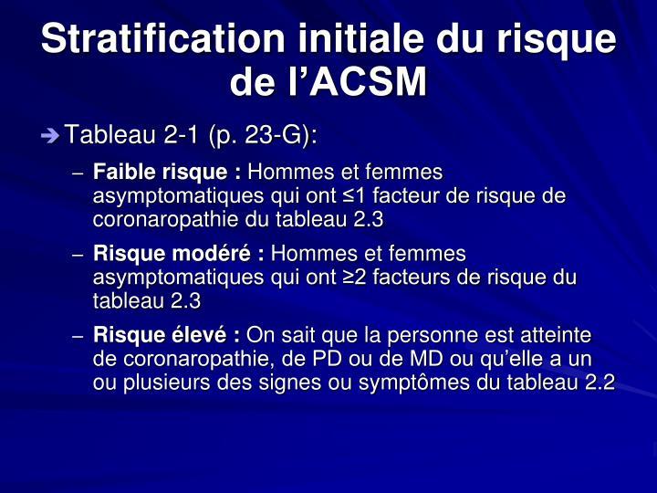 Stratification initiale du risque de l'ACSM