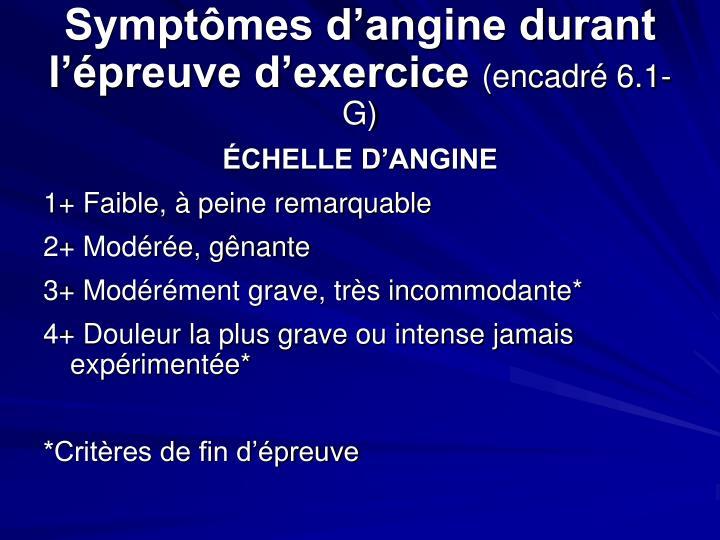 Symptômes d'angine durant l'épreuve d'exercice