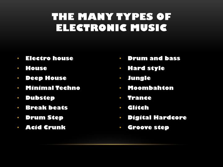 The many Types of electronic music