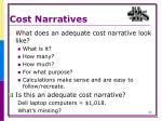 cost narratives