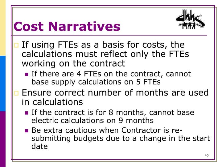 Cost Narratives