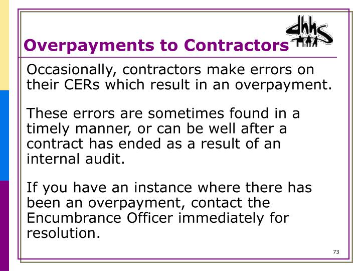 Overpayments to Contractors