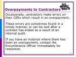 overpayments to contractors