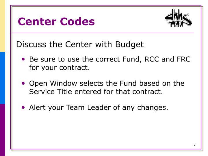 Center Codes