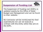 suspension of funding list