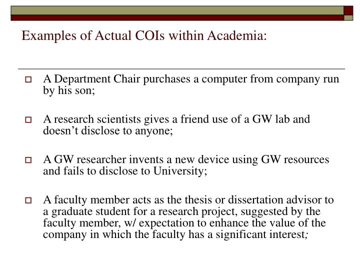Examples of Actual COIs within Academia: