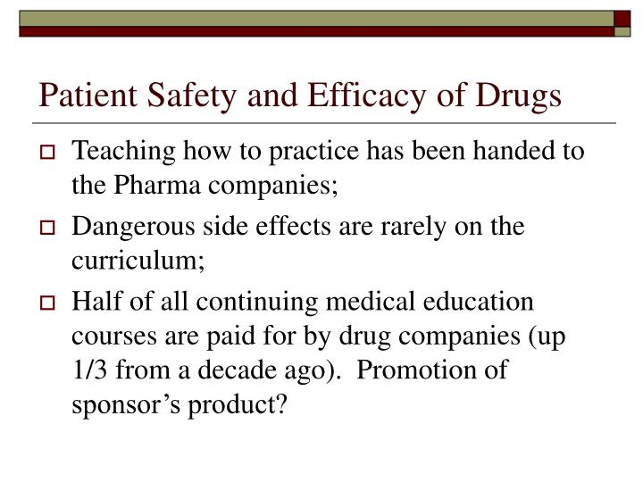 Patient Safety and Efficacy of Drugs