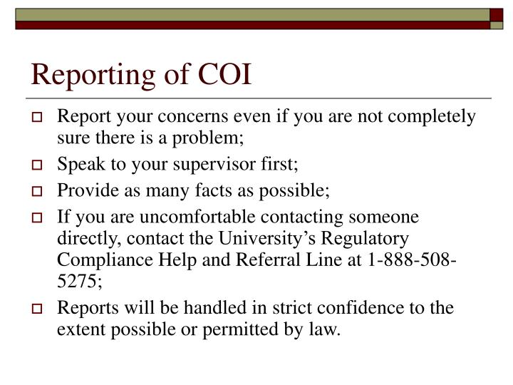 Reporting of COI