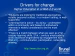 drivers for change higher education in a web 2 0 world