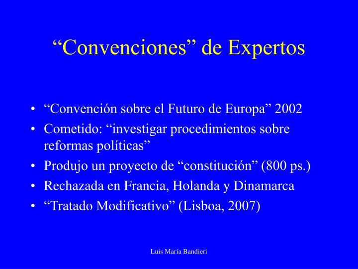 """""""Convenciones"""" de Expertos"""