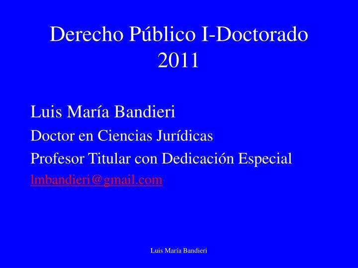 Derecho Público I-Doctorado 2011