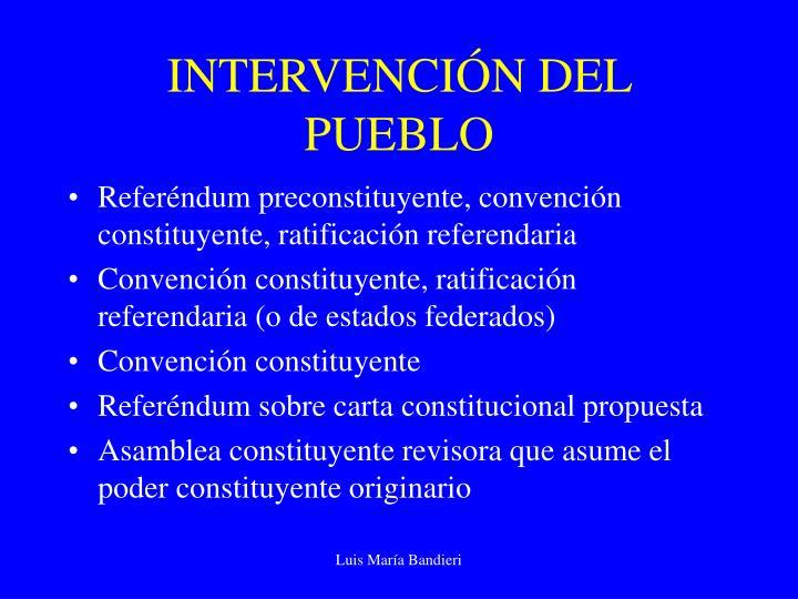 INTERVENCIÓN DEL PUEBLO