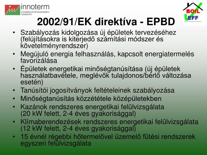 2002/91/EK direktíva - EPBD