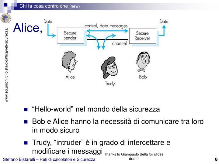 Alice, Bob, e … Trudy