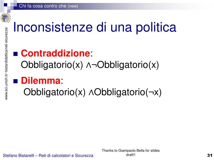Inconsistenze di una politica