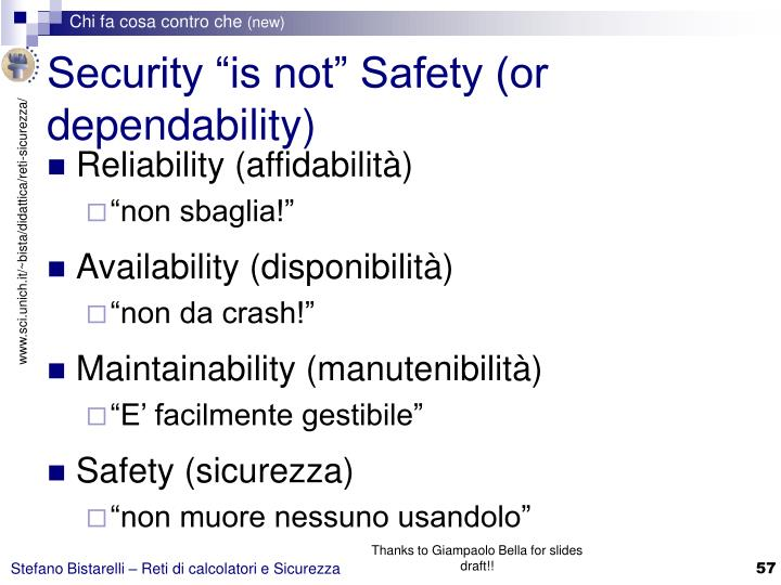 "Security ""is not"" Safety (or dependability)"