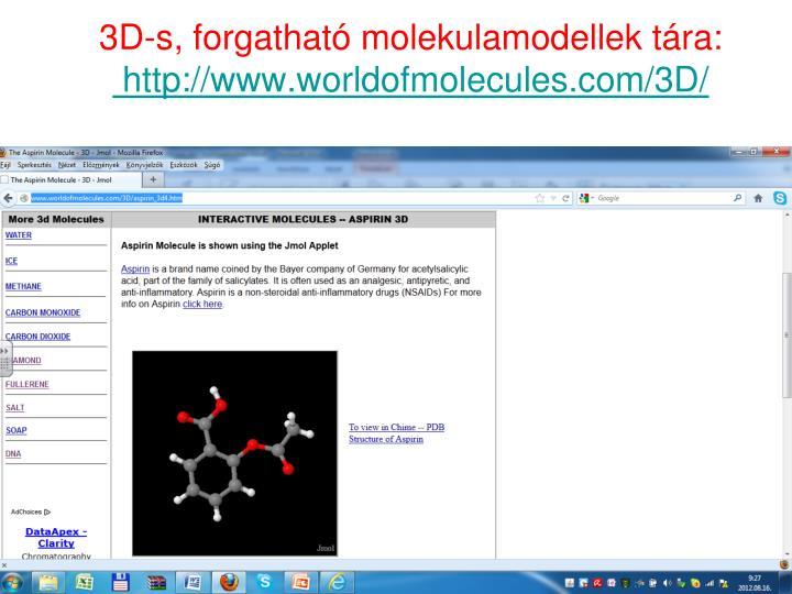 3D-s, forgatható molekulamodellek tára: