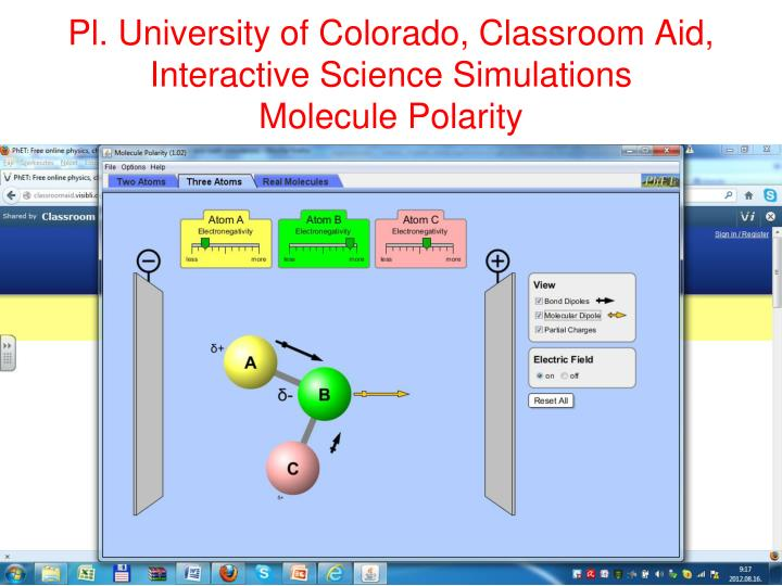 Pl. University of Colorado, Classroom Aid, Interactive Science Simulations