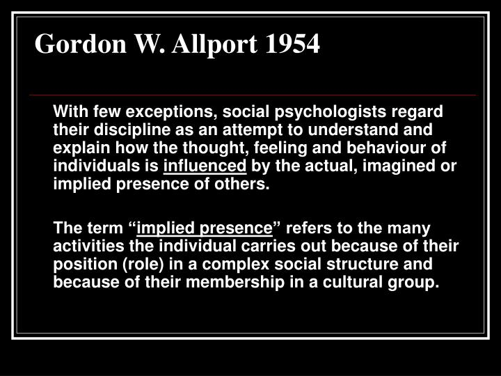 Gordon W. Allport 1954
