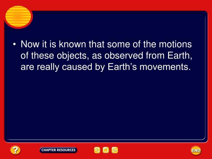 Now it is known that some of the motions of these objects, as observed from Earth, are really caused by Earth's movements.
