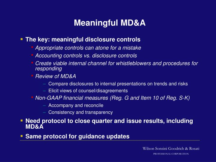 Meaningful MD&A