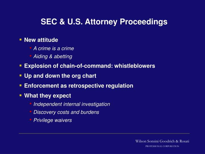 SEC & U.S. Attorney Proceedings