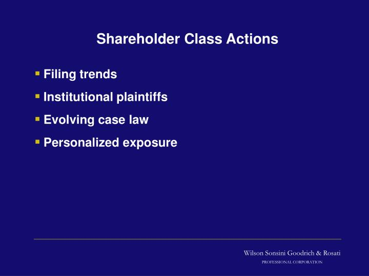 Shareholder class actions