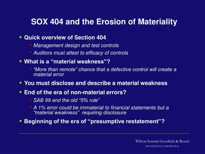 SOX 404 and the Erosion of Materiality