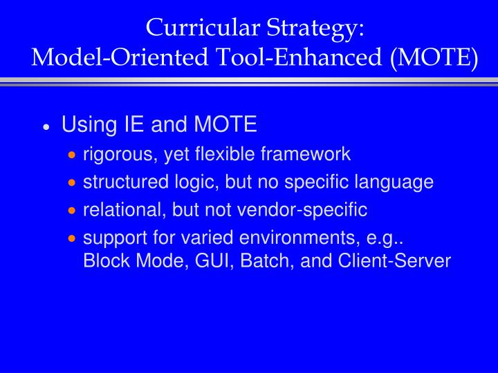 Curricular Strategy: