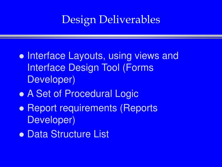 Design Deliverables