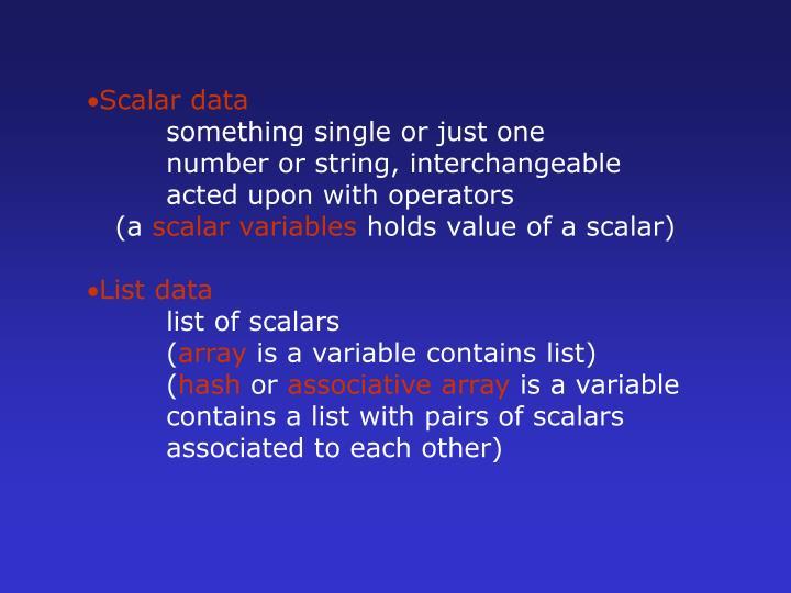 Scalar data