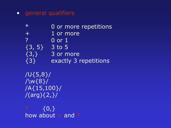 general qualifiers
