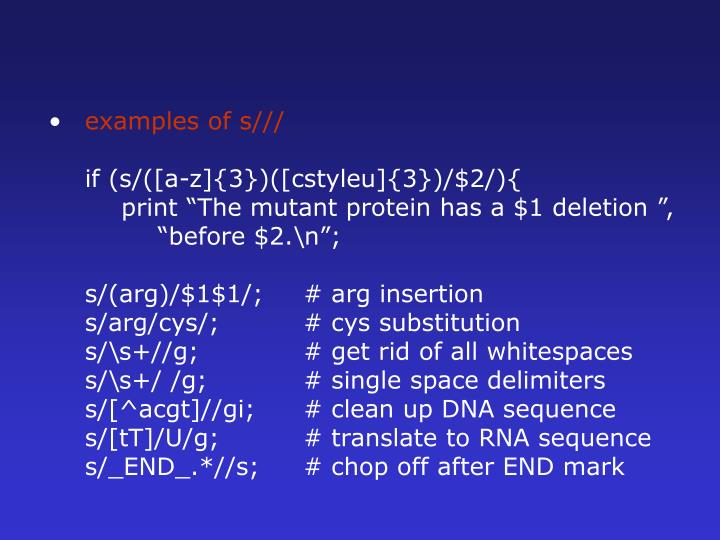 examples of s///