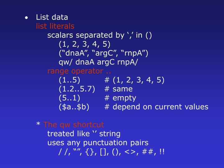 List data