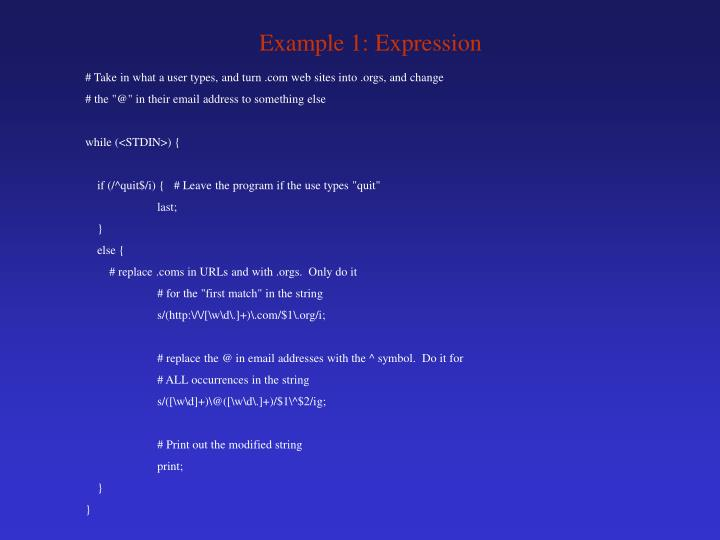 Example 1: Expression